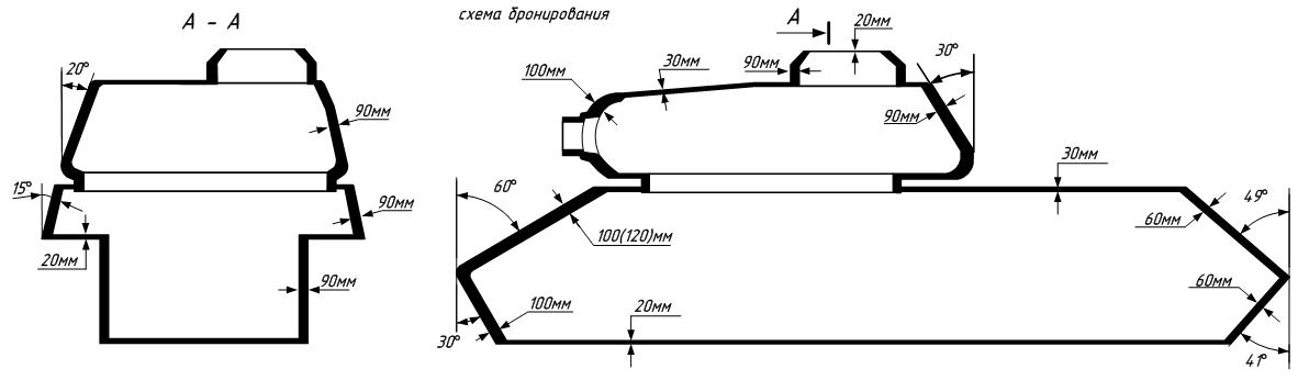 Советский тяжёлый танк ис схема бронирования